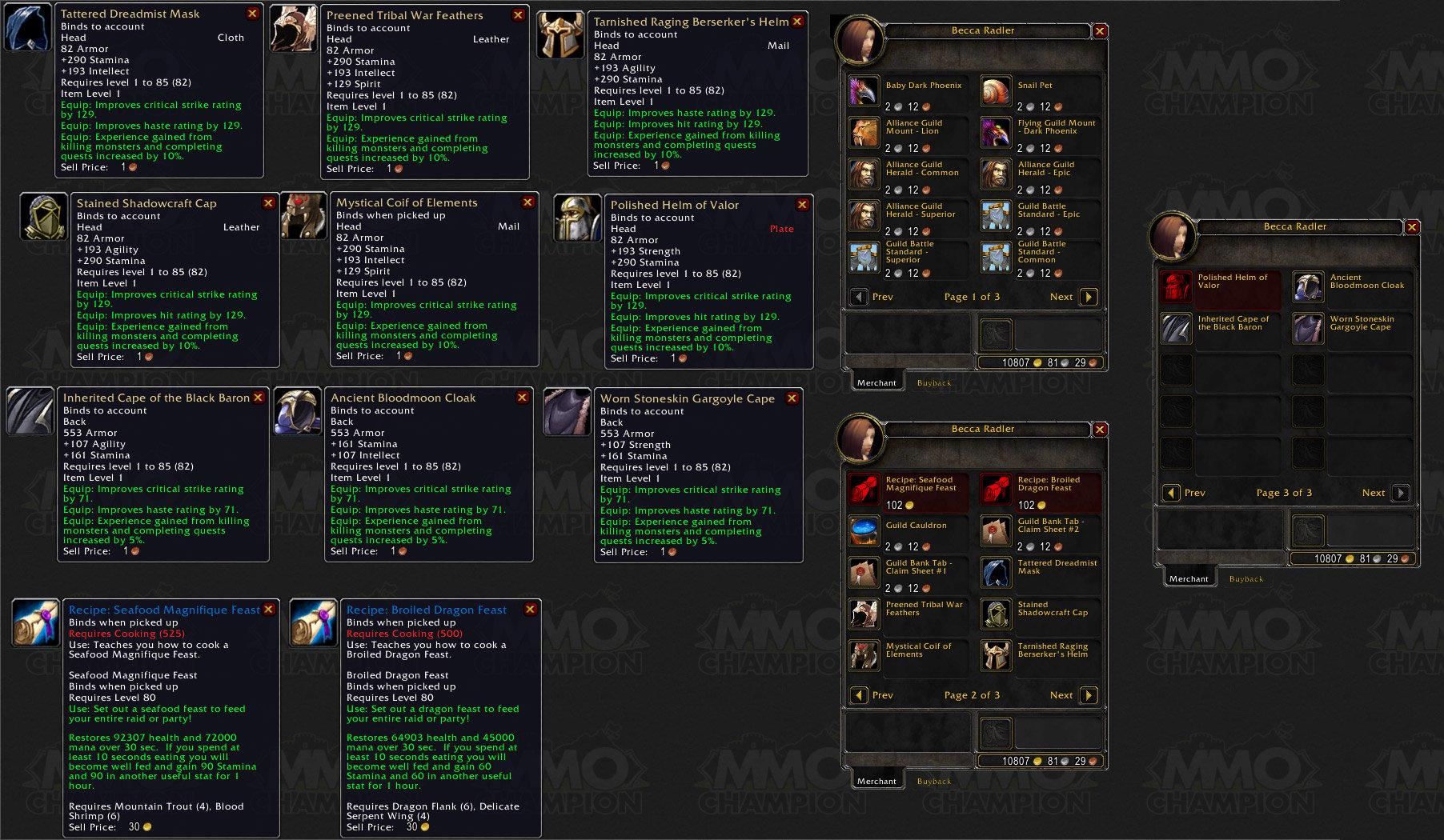 Update 07:40PM PST - Added Guild vendor rewards .