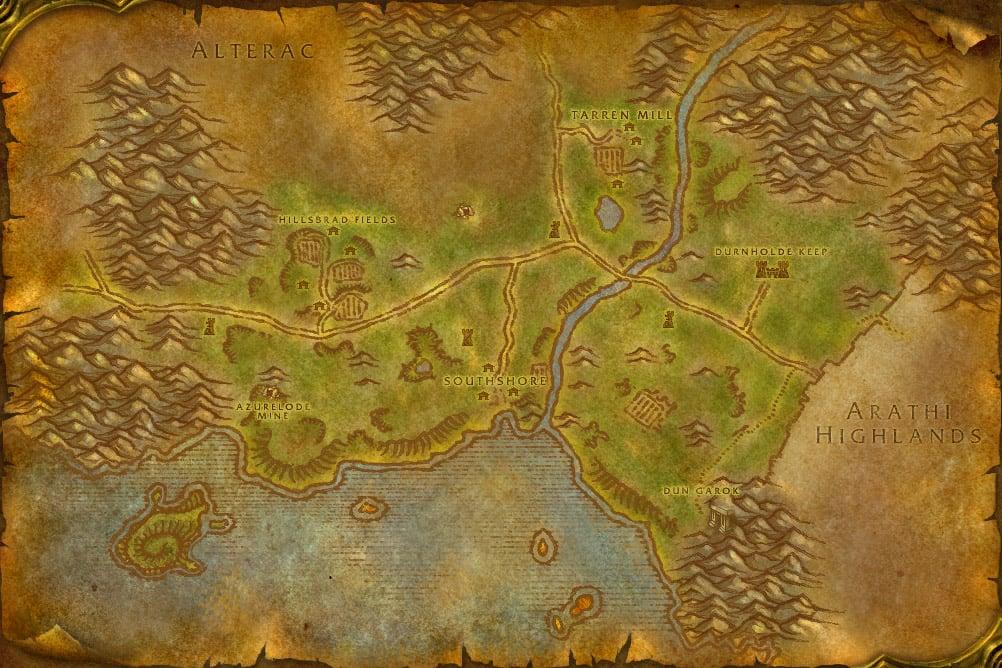 Sells klassinen istuvuus ostaa myyntiin Retro Hillsbrad Foothills map I made from vanilla maps : wow